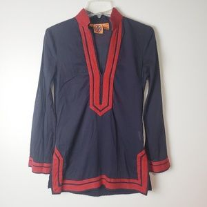 Tory Burch Red & Blue Tunic Size 6